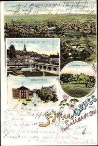 Litho St. Johann Saarbrücken im Saarland, Alte Brücke, Reichsstraße, Spichernberg