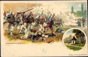 Litho Wœrth Wörth an der Sauer Elsass Bas Rhin, Zuavenangriff, Turkohäuschen