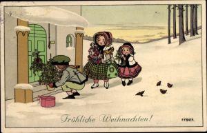 Künstler Ak Ebner, Pauli, Frohe Weihnachten, Kinder vor Haustür, Tannenbaum, Geschenke