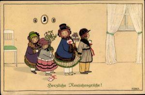 Künstler Ak Ebner, Pauli, Glückwunsch Neujahr, Kinder, Geschenke, Blumenstrauß
