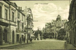 Ak Liepaja Libau Lettland, Kornstraße, Häuser
