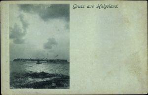Mondschein Ak Helgoland in Schleswig Holstein, Insel vom Wasser aus gesehen