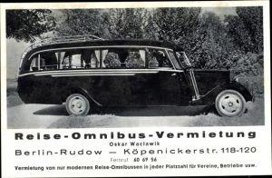 Ak Berlin Neukölln Rudow, Omnibus Vermietung, Köpenicker Straße 118