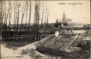 Ak Cergy Val d'Oise, Vue prise du Pont