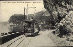 Ak Nice Nizza Alpes Maritimes, Tram, Route de Nice a Monaco, Baie d'Eze