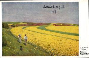 Künstler Ak v. Volkmann, H., Blühende Rapsfelder