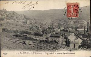 Ak Saint Chamond Loire, Vue générale et quartier Saint Ennemond