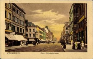 Ak Saarbrücken im Saarland, Obere Bahnhofstraße