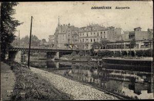 Ak St. Johann Saarbrücken im Saarland, Saarpartie, Brücke
