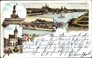 Litho Würzburg am Main Unterfranken, Festung, Brücke, Rathaus, Luitpold Brunnen