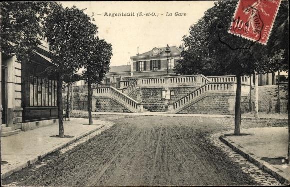 Ak Argenteuil Val d'Oise, La Gare