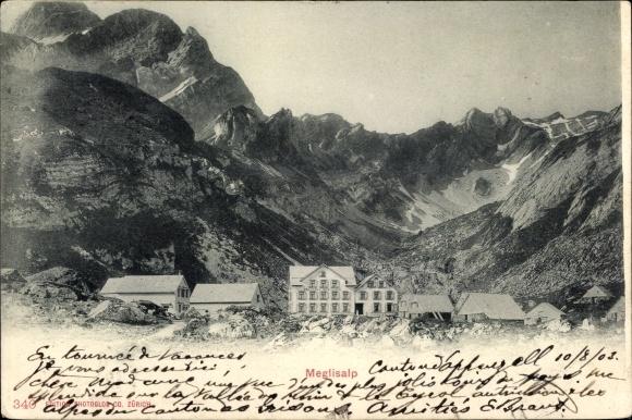 Ak Weissbad Kt. Appenzell Innerrhoden, Meglisalp, Alpenpanorama