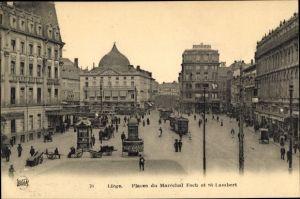 Ak Liège Lüttich Wallonien, Places du Marechal Foch et St. Lambert
