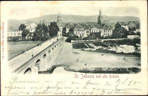 Relief Ak St. Johann Saarbrücken im Saarland, Stadt und alte Brücke