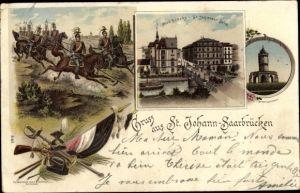 Litho St. Johann Saarbrücken im Saarland, Neue Brücke, Winterbergdenkmal, Kavallerie