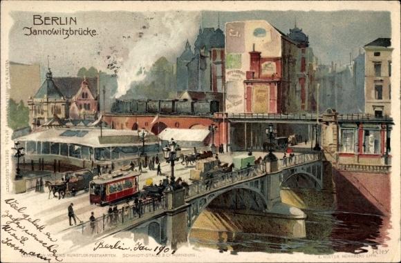 Künstler Litho Kley, Heinrich, Berlin Mitte, Blick über die Jannowitzbrücke, Straßenbahn