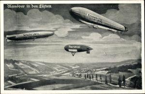 Künstler Ak Manöver in den Lüften, Luftschiffe, LZ 127 Graf Zeppelin, Schütte Lanz, Parseval