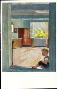 Künstler Ak Welti, Albert, Kunstwart Bildkarte Nr 222, Der Bub in der Türe