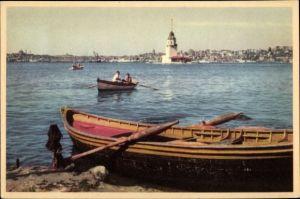 Ak Konstantinopel Istanbul Türkei, Kız Kulesi, Leanderturm, Leuchtturm, Ruderboote