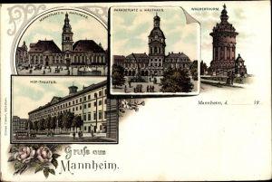Litho Mannheim in Baden Württemberg, Wasserturm, Paradeplatz, Kaufhaus, Hoftheater, Marktplatz