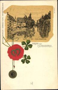 Präge Litho Nürnberg in Mittelfranken Bayern, Partie an der Museumsbrücke, Siegel, Hufeisen