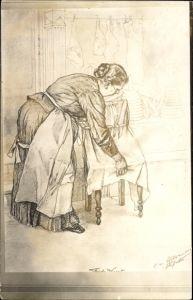 Künstler Ak Szene in einer Metzgerei, Fleischtheke, Frische Wurst