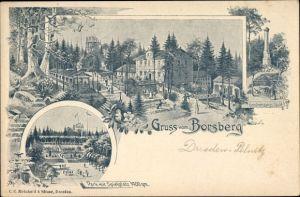 Litho Dresden Schönfeld Weißig Borsberg, Park mit Spielplatz, Gradmessungssäule