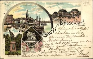 Litho Düsseldorf am Rhein, Rheinwerft, Kriegerdenkmal, Denkmal der 39er, Zentralbahnhof