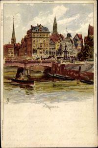 Künstler Litho Biese, C., Hamburg, Messberg, Teilansicht der Stadt