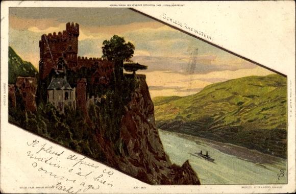 Künstler Litho Biese, C., Trechtingshausen am Rhein, Ansicht vom Schloss Reinstein