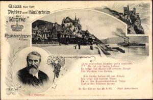 Ak Rüdesheim am Rhein in Hessen, Dichter- und Künstlerheim zur Krone, Emil Rittershaus