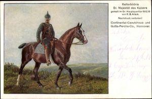 Künstler Ak Adam, R.B., Kaiser Wilhelm II., Reiterbildnis, Continentaal Reklame