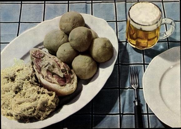 Ak Ja elektrisch gekocht, gedünstet, gebraten, Koche elektrich, Bier, Eisbein, Klöße, Sauerkraut