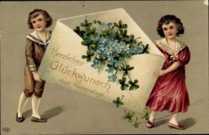 Präge Ak Glückwunsch Namenstag, Kinder, Briefumschlag, Klee, Vergissmeinnicht