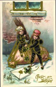 Ak Glückwunsch Neujahr, Kinder als Schornsteinfeger, Geldsack, Klee