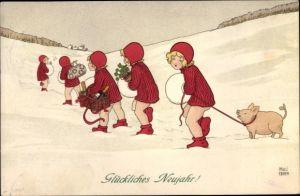 Künstler Ak Ebner, Pauli, Glückwunsch Neujahr, Glücksschwein frisst Kleidung, Sektkorb, Kleeblätter