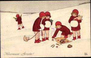 Künstler Ak Ebner, Pauli, Glückwunsch Neujahr, Glücksschwein, Hufeisen, Kleeblätter, Sektflaschen