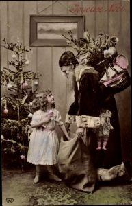 Ak Frohe Weihnachten, Weihnachtsmann, Noel, Tannenbaum, Kind, Geschenke
