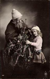 Ak Frohe Weihnachten, Weihnachtsmann, Noel, Tannenbaum, Kind
