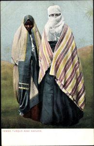 Ak Ägypten, Femme Turque avec Esclave, Muslimische Frau mit Sklavin
