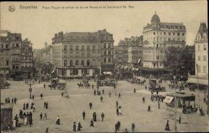 Ak Bruxelles Brüssel, Place Rogier et entrée de la rue Neuve et du boulevard Ad. Max