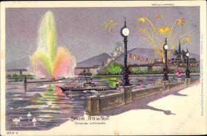 Litho Genève Kt. Genf Schweiz, Fête de Nuit, Fontaines lumineuses, bateau à vapeur, feu d'artifice