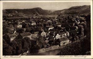 Ak Bad Kreuznach in Rheinland Pfalz, Panorama vom Ort, Talblick von der Kauzenburg, Fluss