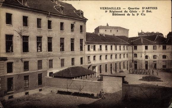 Ak Versailles Yvelines, Quartier d'Artois, 8e Régiment du Génie 2e Bat., Bâtiment de la 5e Cie