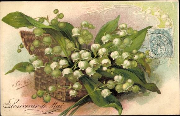 Künstler Ak Guillot, E., Souvenir de Mai, Maiglöckchen
