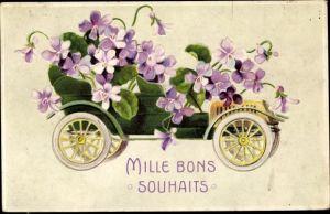 Präge Litho Mille bons souhaits, Auto, Veilchenblüten