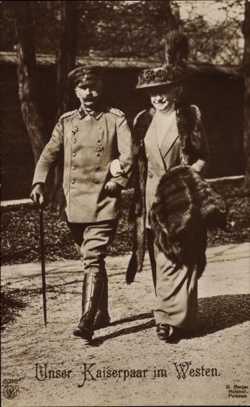 Ak Kaiser Wilhelm II. von Preußen, Kaiserin Auguste Viktoria, Pelz, NPG 5310