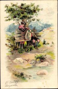 Präge Litho Frau kitzelt schlafenden Mann mit Grashalm, Bayerische Trachten, Dirndl, Lederhose