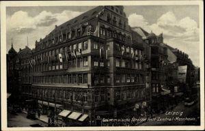 Ak Leipzig in Sachsen, Grimmaische Straße mit Zentral Messhaus, Geschäfte, Straßenbahn