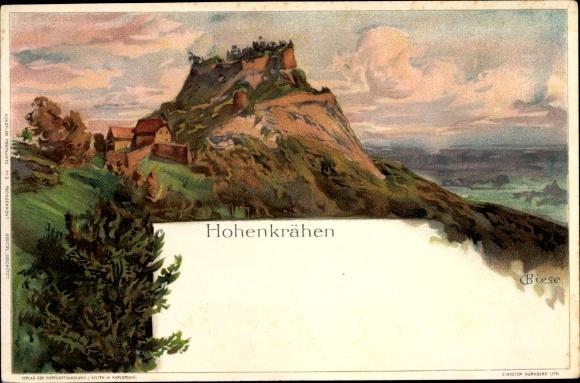Künstler Litho Biese, C., Singen Hohentwiel im Kreis Konstanz, Hohenkrähen, Berg im Abendlicht